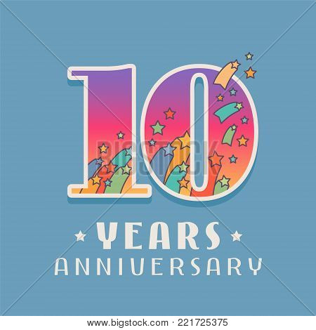 10 years anniversary celebration vector icon, logo. Template design element with bright colored number for 10th anniversary greeting card