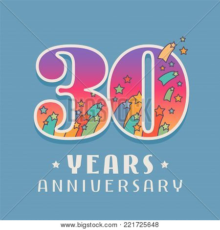 30 years anniversary celebration vector icon, logo. Template design element with bright colored number for 30th anniversary greeting card