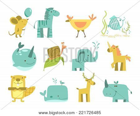 Cute animals set. Cartoon different animals isolated. Mouse, zebra, chicken, fish, narwhal, snail, elephant, unicorn, beaver, whale, deer, rhino vector illustration