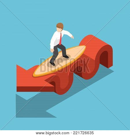Flat 3d isometric businessman surfing with surfboard on red graph. Stock market and financial concept.