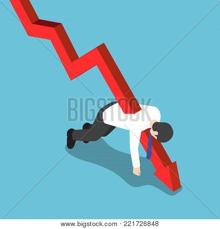 Flat 3d isometric red falling graph stabbed through businessman. Bankruptcy and financial concept.