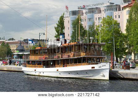 SAVONLINNA, FINLAND - JULY 17, 2017: Old passenger steamship