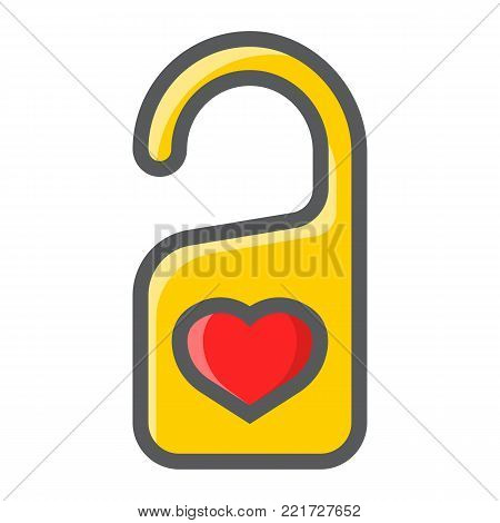 Do not disturb with heart filled outline icon, valentines day and romantic, door hanger sign vector graphics, a colorful line pattern on a white background, eps 10.
