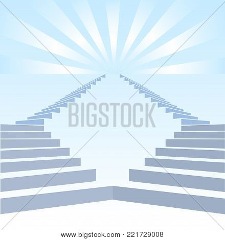 Stair upwards and refulgency in blue sky