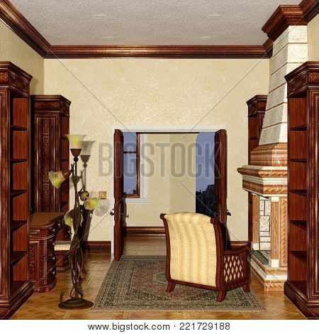 3D rendering of a Victorian style study room interior