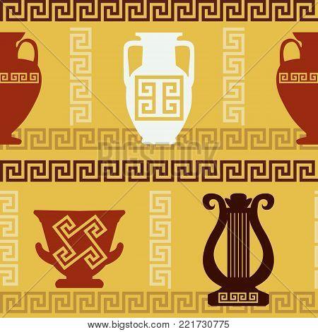 Greek art - vases, lyre. Meander ornament. Seamless pattern Ethnic art
