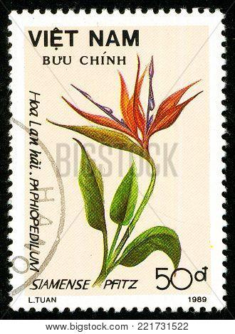 Ukraine - circa 2018: A postage stamp printed in Vietnam shows flower Strelitzia reginae. Series: Flowers. Circa 1989.