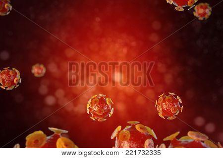 Viral hepatitis infection causing chronic liver disease , Hepatitis viruses 3d illustration.