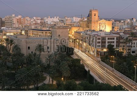 Views of the city of Elche dusk. Province of Alicante, Spain.