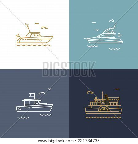 Set of contour icons of naval ships, yachts and boats.