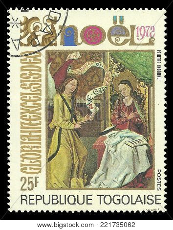Togo - circa 1972: Stamp printed by Togo, Color edition on Art, shows Painting Annonciation  Christmas theme, circa 1972