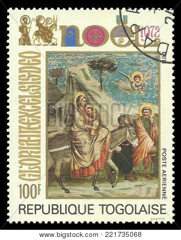 Togo - circa 1972: Stamp printed by Togo, Color edition on Art, shows Painting Leak in Egypt Christmas theme, circa 1972