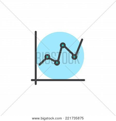 Business graph and chart filled outline icon, line vector sign, linear colorful pictogram isolated on white. Statistic diagram symbol, logo illustration. Pixel perfect vector graphics