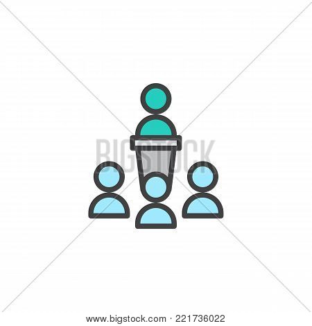 Orator speaking from tribune filled outline icon, line vector sign, linear colorful pictogram isolated on white. Business team symbol, logo illustration. Pixel perfect vector graphics
