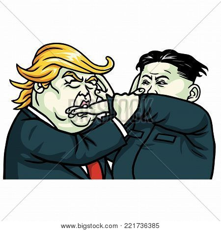 Donald Trump Versus Kim Jong-un Fighting. Vector Illustration Drawing. January 13, 2018