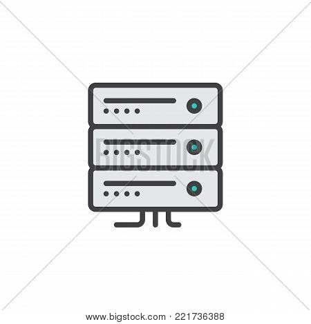 Computer server filled outline icon, line vector sign, linear colorful pictogram isolated on white. Server rack symbol, logo illustration. Pixel perfect vector graphics