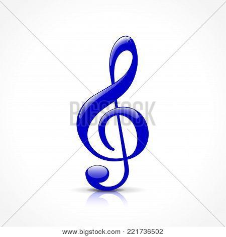 Illustration of blue treble clef on white background