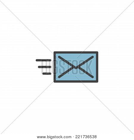 Send message, letter, e-mail, SMS, email, mail filled outline icon, line vector sign, linear colorful pictogram isolated on white. Envelope symbol, logo illustration. Pixel perfect vector graphics
