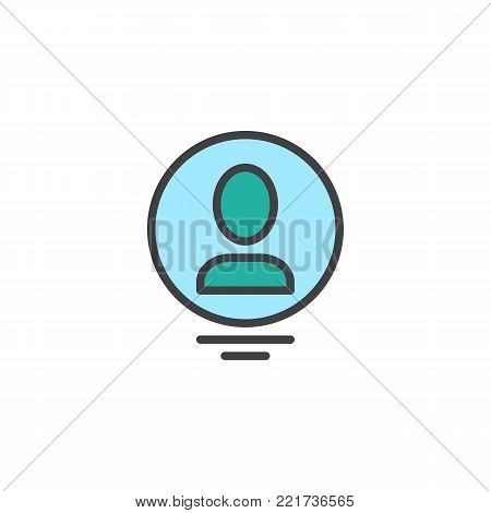 Person profile circle avatar filled outline icon, line vector sign, linear colorful pictogram isolated on white. User person symbol, logo illustration. Pixel perfect vector graphics