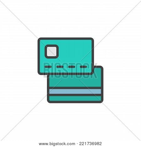 Credit and debit cards filled outline icon, line vector sign, linear colorful pictogram isolated on white. Payment method symbol, logo illustration. Pixel perfect vector graphics