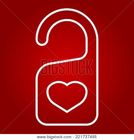 Do not disturb with heart line icon, valentines day and romantic, door hanger sign vector graphics, a linear pattern on a red background, eps 10.