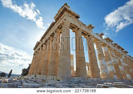 Parthenon on blue sky in Akropolis, Athens,Greece