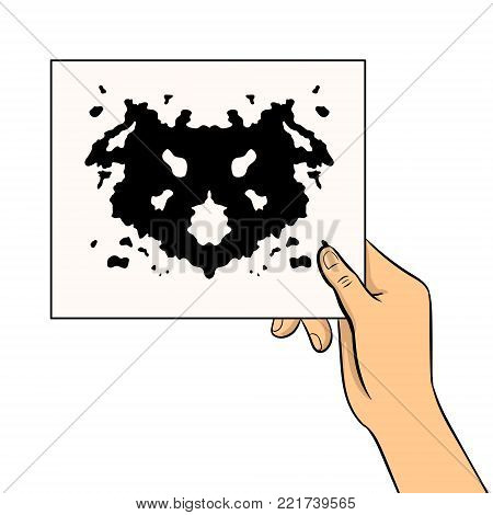 Rorschach test in hand pop art retro vector illustration. Isolated image on white background. Comic book style imitation. Comic book style imitation.