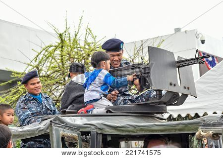 CHIANG MAI, THAILAND - JANUARY 13; 2018 : Military show at Wing 41 Airbase on Thai Children's Day in Chiang mai, Thailand.