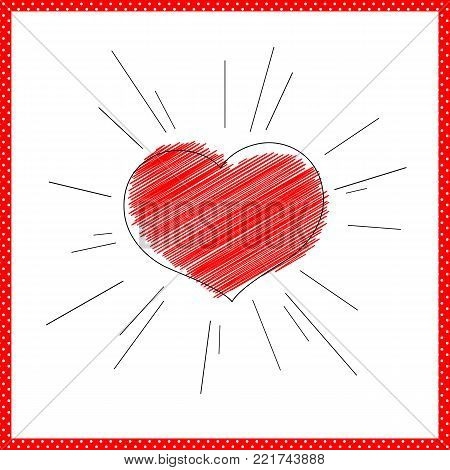 Bright red heart with rays lines Symbol of love and marriage for Valentine's Day Decorative heart for the design greeting card wedding invitations poster banner template Drawing heart strokes Vector