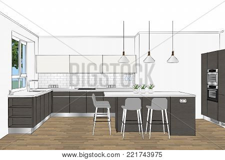3D rendering. Modern kitchen design in light interior. Kitchen sketch. There is also a kitchen island in the room. Kitchen and living room combined. Interior design. Pendant light.