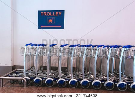 Trolley Luggage. Parking of trucks Airport airport, trolley,