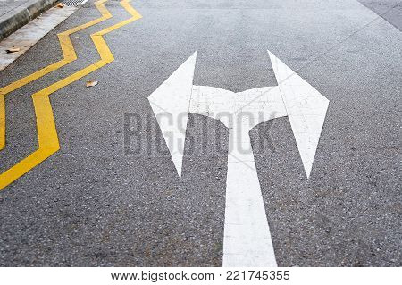 Road marking turn left and right. New traffic rules