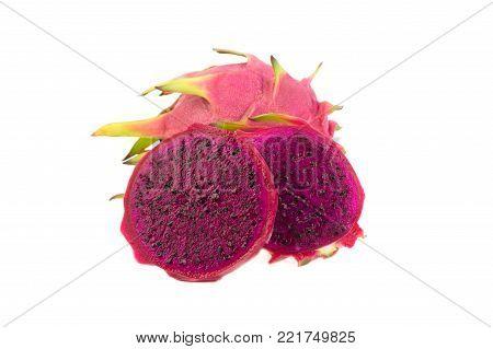 Dragon Fruit isolated on white background. (Pitaya Fruit)