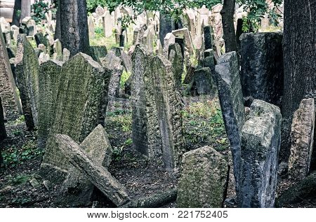 Jewish cemetery in Prague, Czech republic. Memorial place. Many graves. Historical object. Blue photo filter.