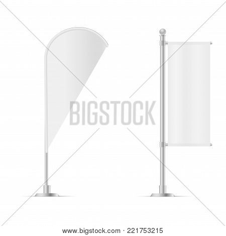 White Outdoor Teardrop Blade Feather Flag, Stander Advertising Banner Shield. Vector illustration. Mock up