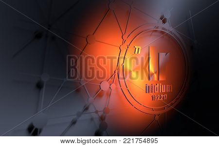 Iridium chemical element. Sign with atomic number and atomic weight. Chemical element of periodic table. Molecule and communication background. Connected lines with dots. 3D rendering