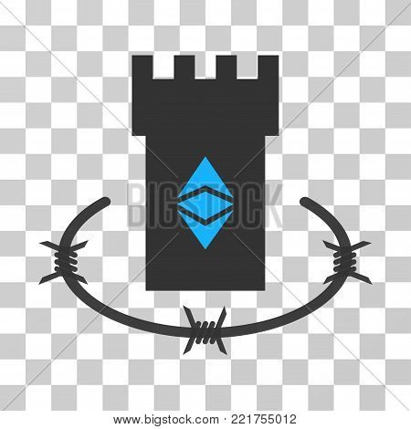 Ethereum Classic Bulwark vector icon. Illustration style is flat iconic symbol on a chess transparent background.