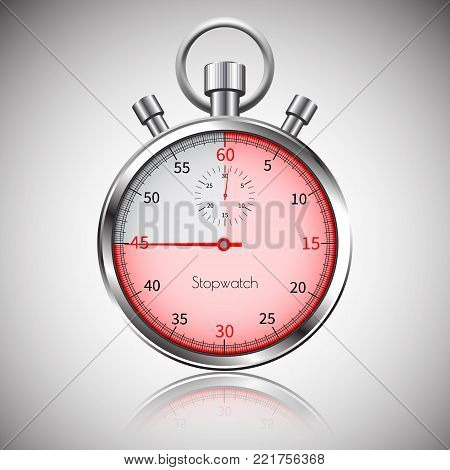 45 seconds. Silver realistic stopwatch with reflection. Vector.