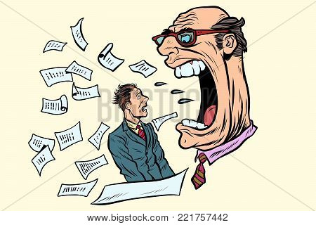 the boss yells at a subordinate. work and business. Pop art retro vector illustration