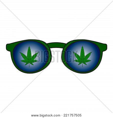 Rastaman sunglasses with the reflection of marijuana leaves. Vector illustration