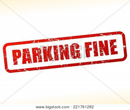 Illustration of parking fine red text stamp