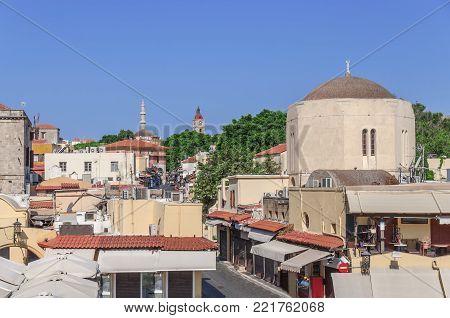View Of One Street In Greek Rhodes Island Capital Rhodes Town