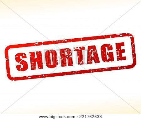 Illustration of shortage red text stamp concept