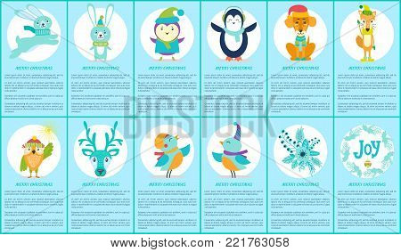 Merry Christmas images set, icons of penguin and dog, running rabbit, bird and fox, owl with Bengal light, stickers of two types vector illustration