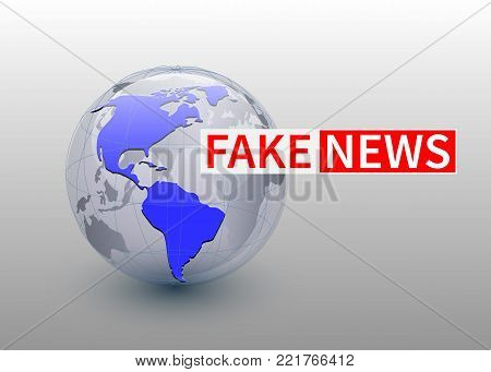 Fake news, world news backgorund with planet, TV news design. Vector.
