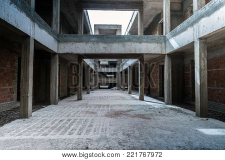 Interior of unfinished building. Iuncompleted building in Sharm El Sheikh, Egypt