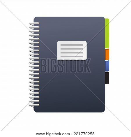 Spiral notebook with tabs - journal or book icon