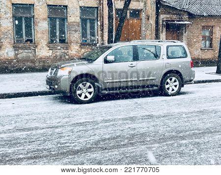 KRIVOY ROG, UKRAINE - JAN 13 - Beautiful Nissan Armada stands on the street, Saturday 13 January 2018