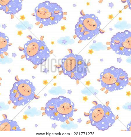 Seamless pattern of counting cute sheep to fall asleep. Cartoon happy, jumping sheep with stars and clouds for baby textile. Vector background digital paper for print