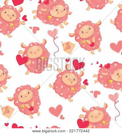 Seamless pattern of loving cute sheep for a Valentines day. Cartoon happy jumping sheep with hearts and love letters and baloons, for holiday package paper. Vector background digital paper for print